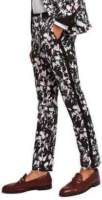 Topman Ultra Skinny Fit Floral Tuxedo Trousers