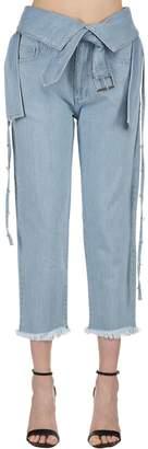 Marques Almeida Belted Washed Denim Jeans