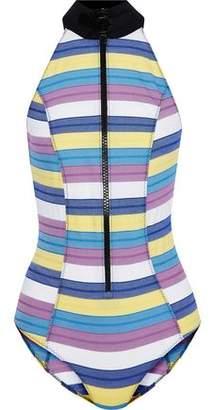 Lisa Marie Fernandez Striped Stretch-Cotton Halterneck Swimsuit