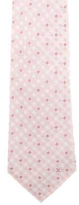 Louis Vuitton Silk Floral Gingham Pint Tie