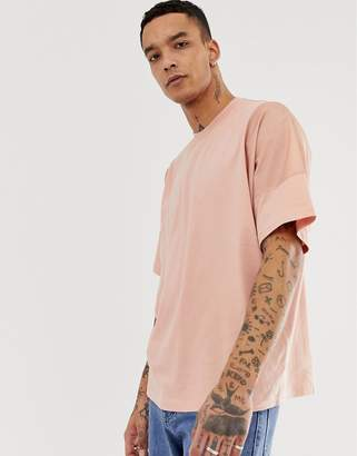 cba80833f7 Asos Design DESIGN oversized t-shirt with contrast panels in woven fabric  in pink