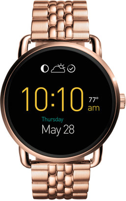 Fossil Q Wander Rose Gold-Tone Stainless Steel Bracelet Touchscreen Smart Watch 45mm FTW2112 $275 thestylecure.com