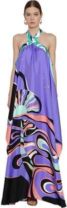 Emilio Pucci LONG PRINTED CUT OUT SILK TWILL DRESS