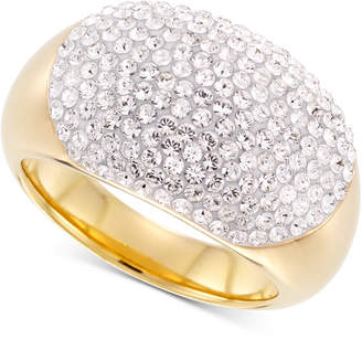 Swarovski Signature Gold Crystal Statement Ring in 14k Gold Over Resin