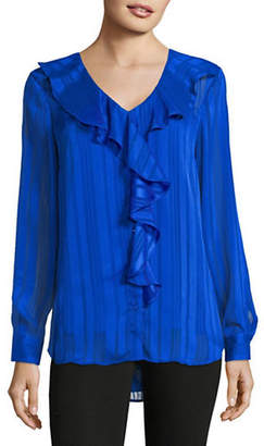 Isaac Mizrahi IMNYC Ruffled V-Neck Button-Down Shirt