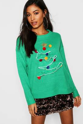 boohoo 3D Frill Christmas Tree Sweater