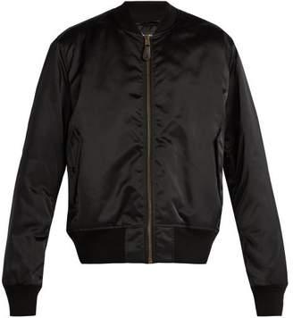 Balenciaga Logo Embroidered Nylon Bomber Jacket - Mens - Black
