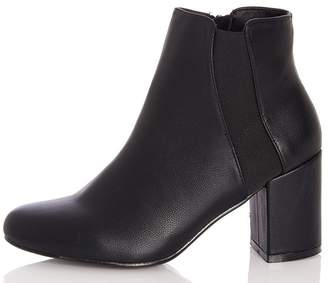 Quiz Black Elastic Panel Heel Ankle Boots