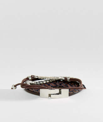 Asos Leather And Plaited Bracelet Pack With Feather In Brown