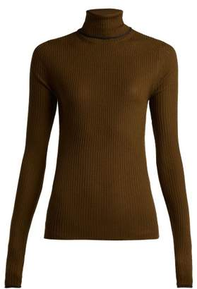 Acne Studios Roll Neck Wool Knit Sweater - Womens - Green