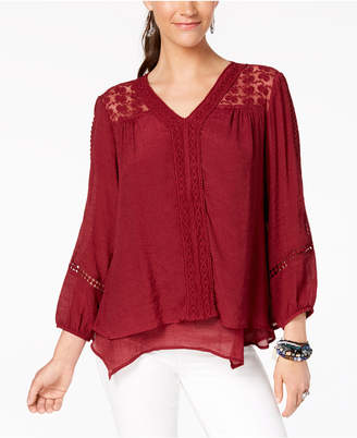 Style&Co. Style & Co Petite Layered-Hem Crochet Woven Top, Created for Macy's