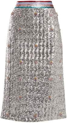 Sigma crystal-embellished sequin midi skirt