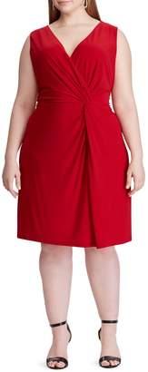 Chaps Twist-Front Jersey Fit Flare Dress