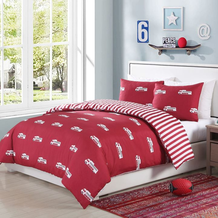 Lala + Bash Franklin Trucks Reversible Comforter Set