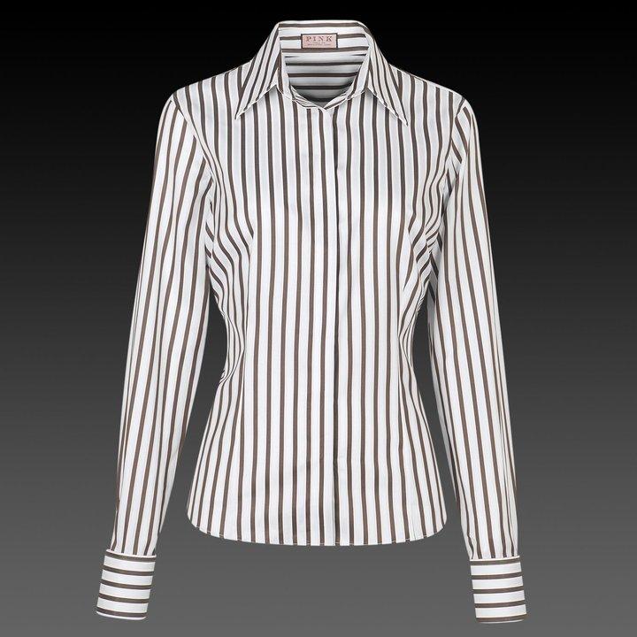 White and Brown Jordan Stripe Women's Shirt - Double Cuff