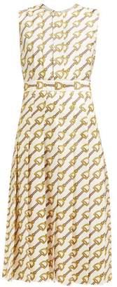 Gucci Pleated Horsebit Print Silk Faille Dress - Womens - Ivory Multi
