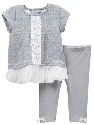 Pippa & Julie Short Sleeve Quilted Tunic & Leggings Set (Baby Girls 12-24M)