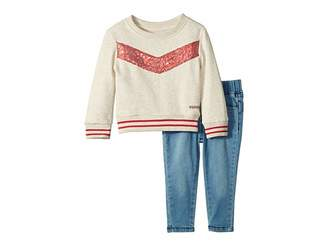 Hudson Two-Piece Oatmeal French Terry Pullover with Sequin Piecing, Stretch Denim Leggings (Infant)