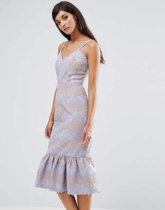 Aijek Lace Peplum Hem Dress
