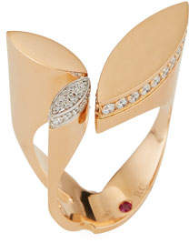 Roberto Coin Petals 18k Rose Gold & Diamond Ring, Size 6.5