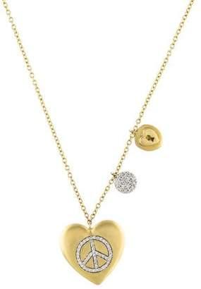 Meira T 14K Diamond Peace & Love Pendant Necklace