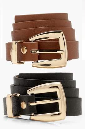 boohoo 2 Pack Chunky Buckle Skinny Belt