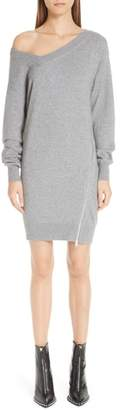 Alexander Wang Asymmetrical Zip Detail Wool & Cashmere Blend Sweater Dress