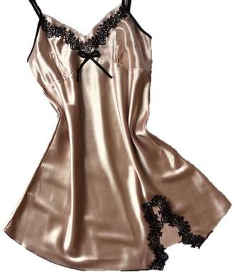 Susenstone -ingerie Women Sexyingerie for Sex Susenstone Suspenders Nightdress Sik Satin Pajamas Dress (, God)