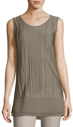 Nic+Zoe Textured Chiffon-Trim Tank, Light Beige