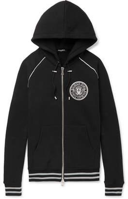 Balmain Logo-Print Cotton-Jersey Zip-Up Hoodie
