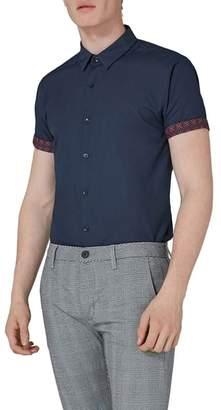 Topman Slim Fit Turn Up Sleeve Shirt
