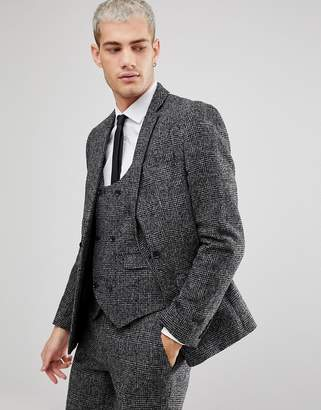 Asos DESIGN Slim Suit Jacket In Moons Wool Rich Monochrome Check