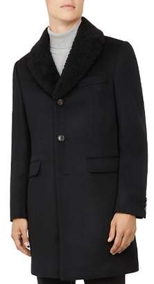 Ted Baker Squish Shearling Collar Overcoat
