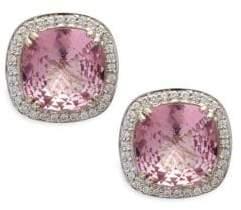 Sterling Silver, 14K White Gold, Pink Topaz & Diamond Omega Clip Earrings