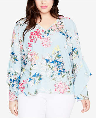 Rachel Roy Trendy Plus Size Ruffled-Sleeve Top