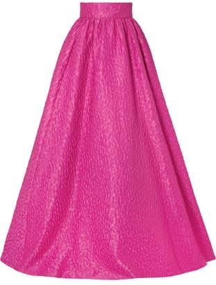 Brandon Maxwell Cloque Maxi Skirt - Fuchsia