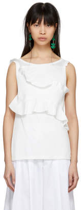 Carven White Ruffle Tank Top