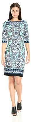 Sandra Darren Women's 1 Pc Elbow Sleeve Printed Ity Shift Dress