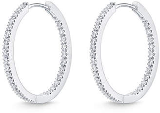 Memoire Diamond Eternity Hoop Earrings in 18K White Gold