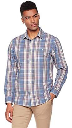 Wood Paper Company Men's Long Sleeve Regular Fit Buttoned 2-Pocket Cotton Madras Plaid Shirt