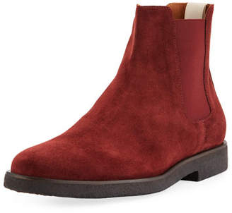 Common Projects Men's Calf Suede Chelsea Boots, Red