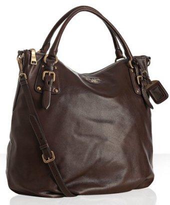 Prada dark brown leather logo detail large tote
