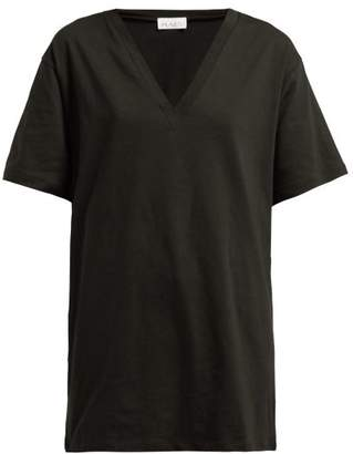 Raey V Neck Heavy Cotton Jersey T Shirt - Womens - Black