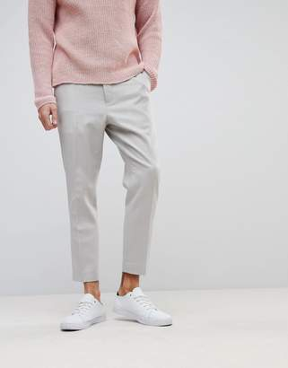 Asos Tapered Smart Pant In Putty 100% Merino Wool