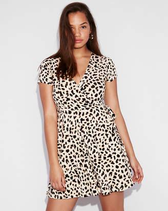 Express Leopard Print Surplice Wrap Dress