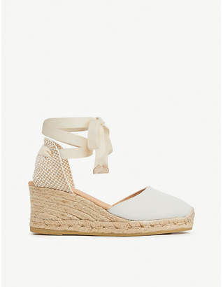 White Canvas Shoes With Wedge Heel - ShopStyle UK