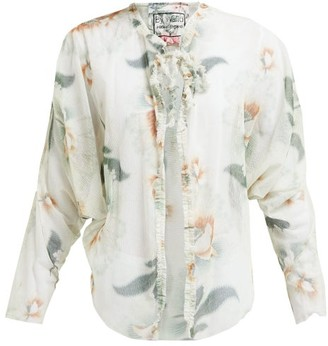 By Walid Iris Floral Print Cotton Tulle Jacket - Womens - Ivory Multi
