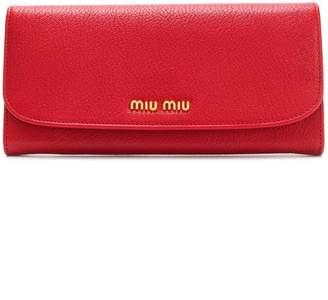Miu Miu Single colour madras leather wallet