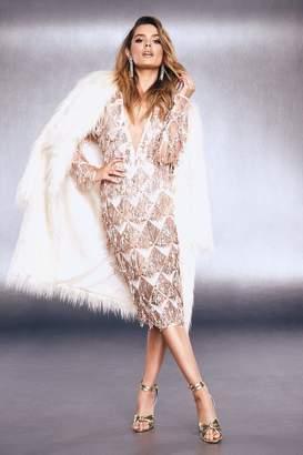 boohoo Premium Fringe Sequin Cut Out Back Midi Dress