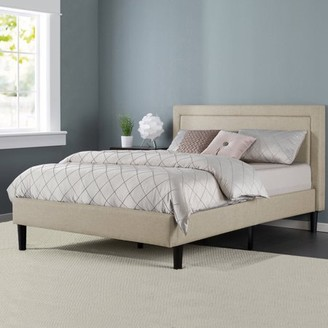 Zinus Mckenzie Upholstered Detailed Platform Bed with Wooden Slats, Multiple Sizes